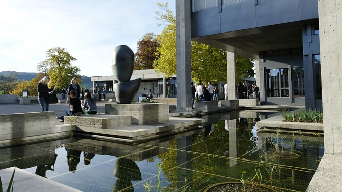 Pond in front of the University of St.Gallen (HSG) main building